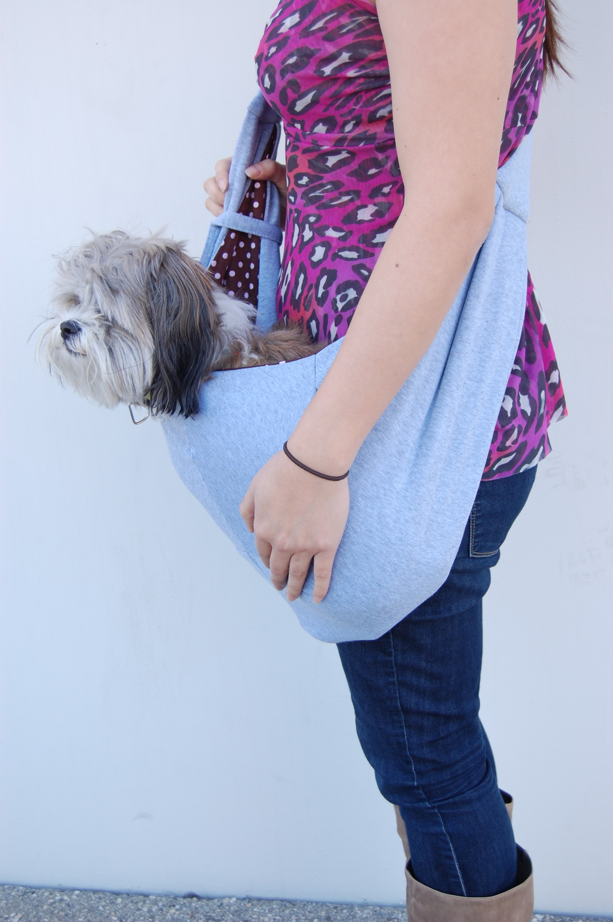 Designer Dog Shoulder Sling Bag - Grey